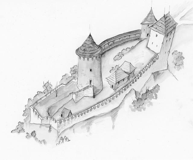 Pretpostavljena rekonstrukcija zamka, autor Almir Ami Kurtović